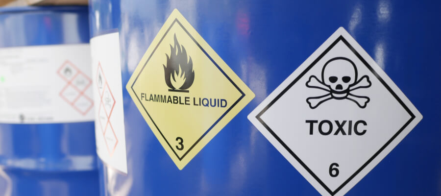 Toxic and flammable label on barrels, chemicals, container label