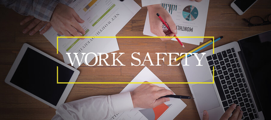 business team working in office table, work safety overlay